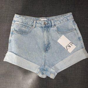 Zara light wash high waist cut off jean shorts